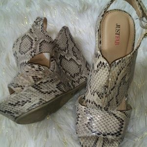 Just Fab Faux Snake Skin Wedges